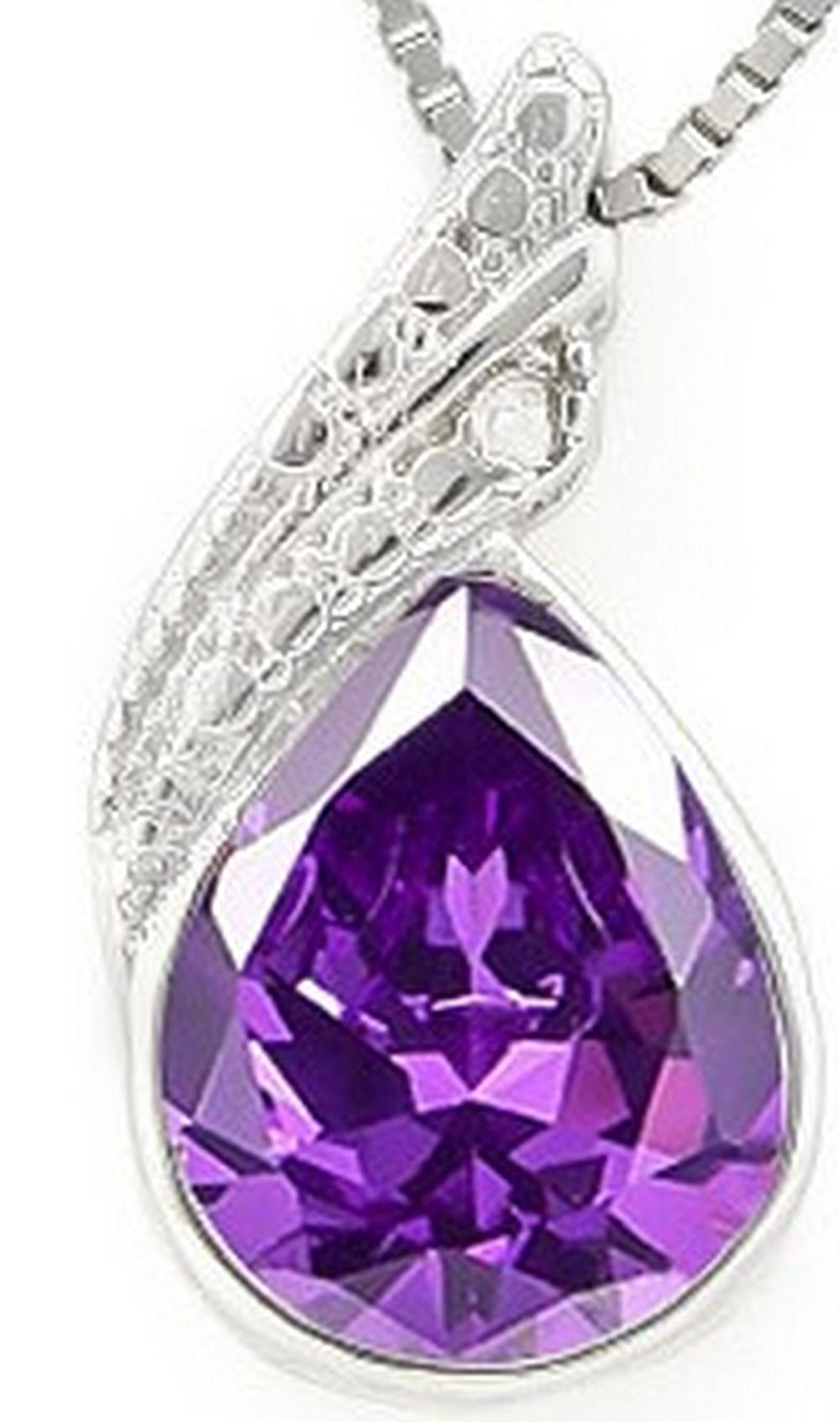 Pear Cut Amethyst and Diamond Necklace in Sterling Silver