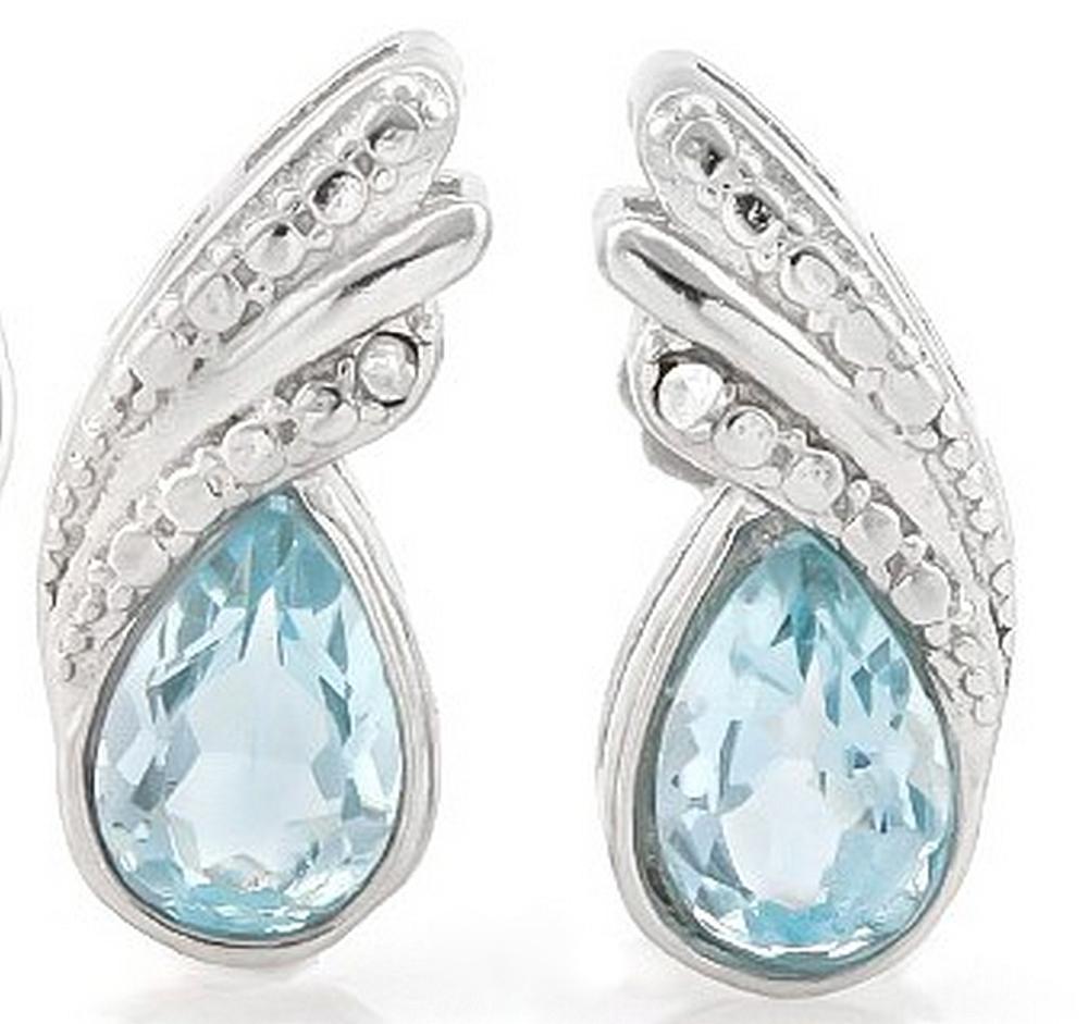 Pear Cut Sky Blue Topaz and Diamond Earrings in Sterling Silver