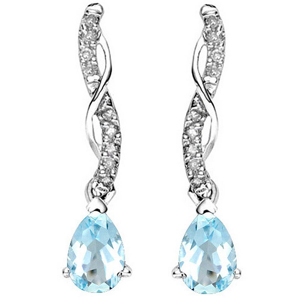 Pear Cut Sky Blue Topaz and Diamond Dangle Earrings in Sterling Silver