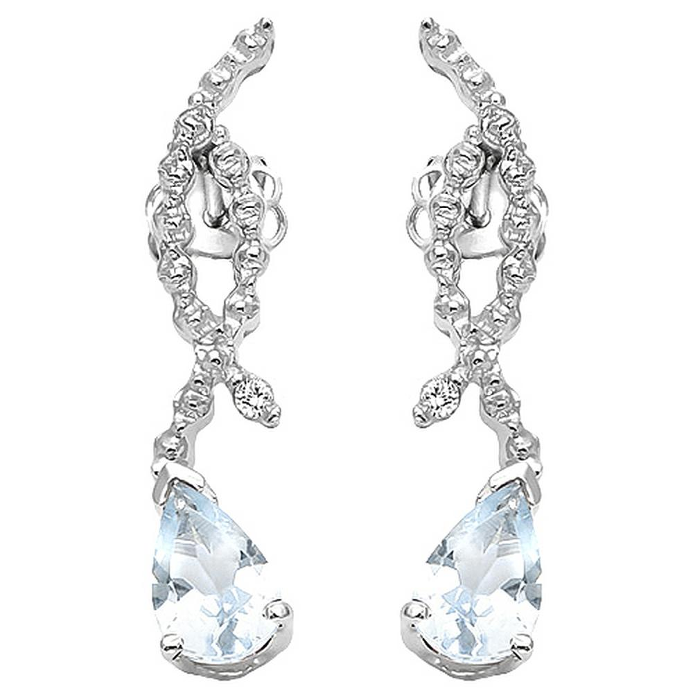 Aquamarine and Diamond Dangle Earrings in Sterling Silver