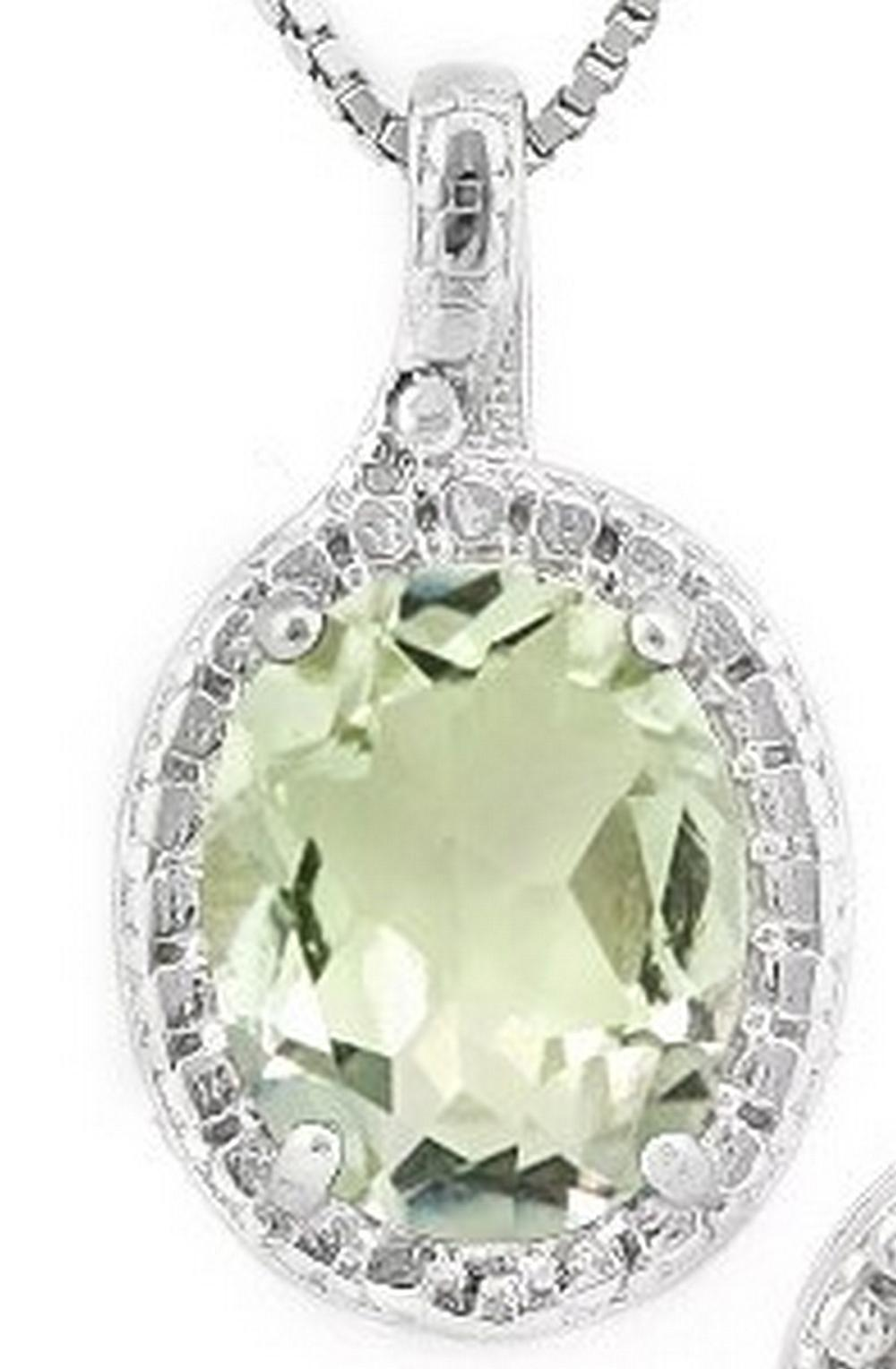 Green Amethyst and Diamond Necklace  in Sterling Silver