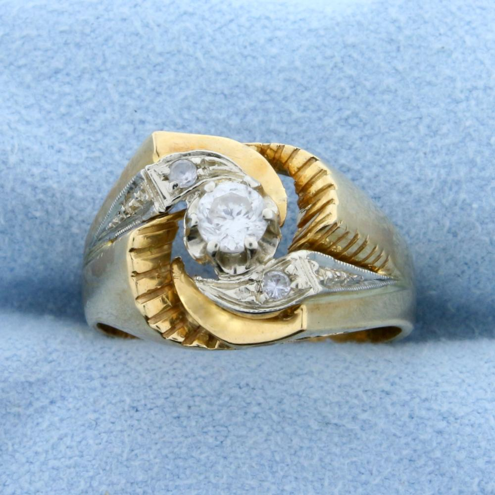 Custom Designed Vintage .3ct TW Diamond Ring in 18k Yellow and White Gold