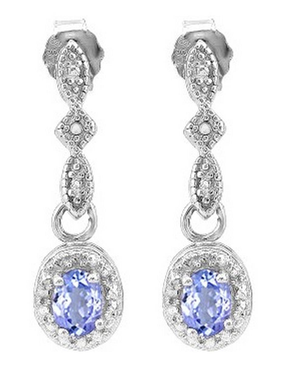 Tanzanite and Diamond Dangle Earrings in Sterling Silver