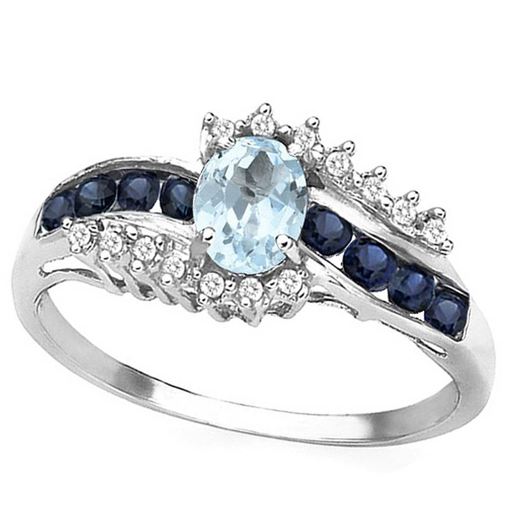 Aquamarine Sapphire and Diamond Ring in Sterling Silver