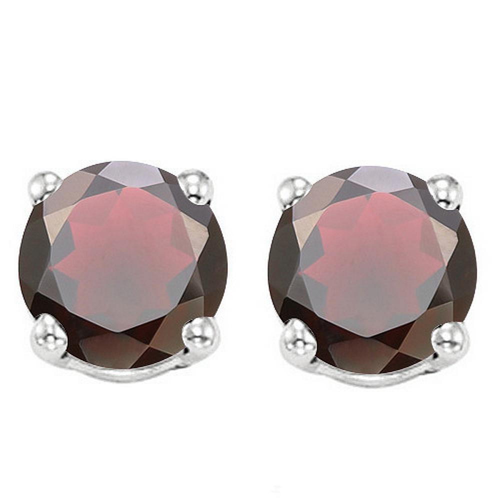 6MM Garnet Stud Earrings in Sterling Silver