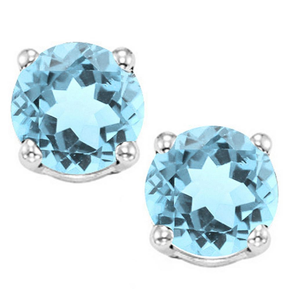 8MM Large Sky Blue Topaz Stud Earrings in Sterling Silver