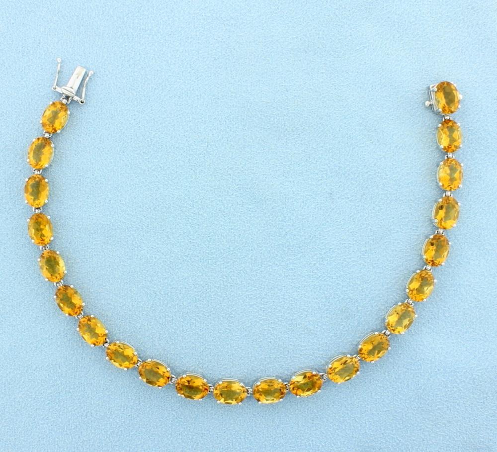 33ct Citrine Bracelet in 14k Yellow Gold