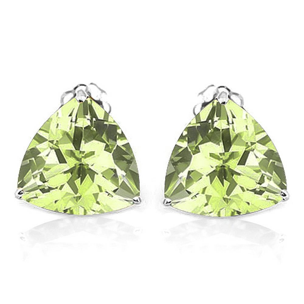 6MM Trillion Cut Peridot Stud Earrings in Sterling Silver