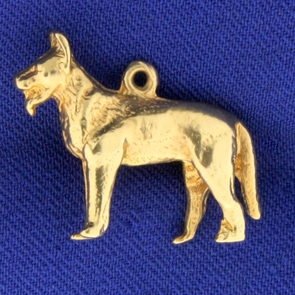 German Sheppard Dog Pendant in 14k Yellow Gold