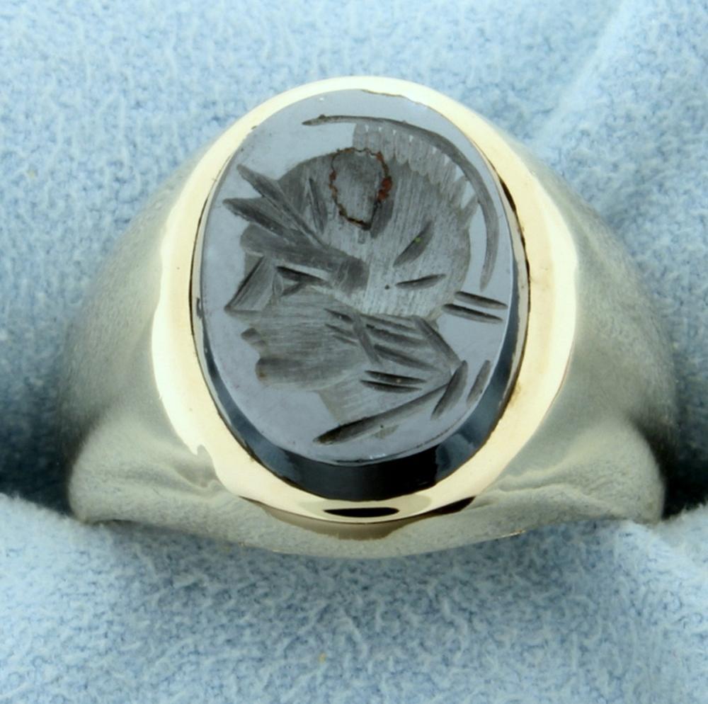 Men's Hematite Gladiator Ring in 10k Yellow Gold