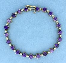 Heart Shaped Amethyst and Diamond Bracelet