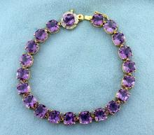 Amethyst and Diamond Bracelet in 14k Gold