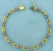 Over 3ct TW Natural Tanzanite and Diamond Bracelet in 14K Yellow Gold