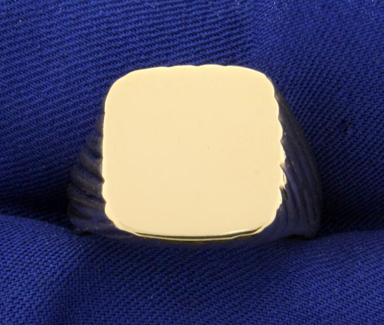 Men's Blank Signet Ring in 14K Yellow Gold