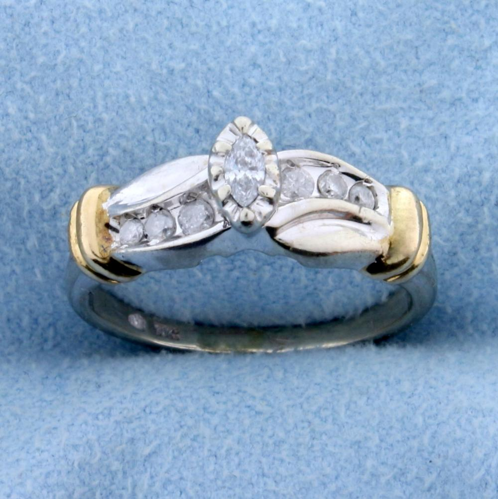 1/5 ct TW Diamond Engagement Ring in 10k White and Yellow Gold