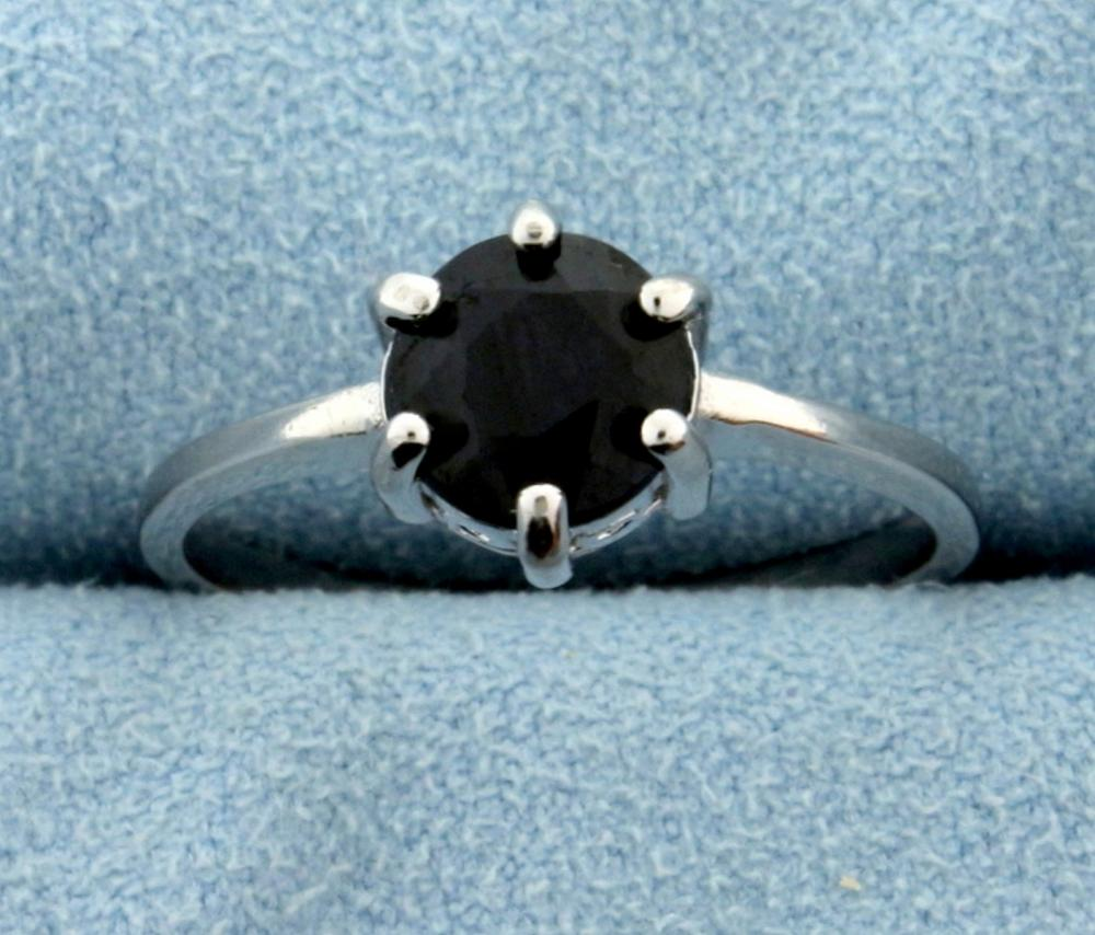 Midnight Sapphire Ring in Sterling Silver