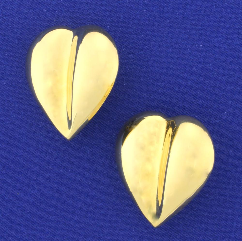 Italian Made Large Heart Earrings with French Backs in 14k Yellow Gold