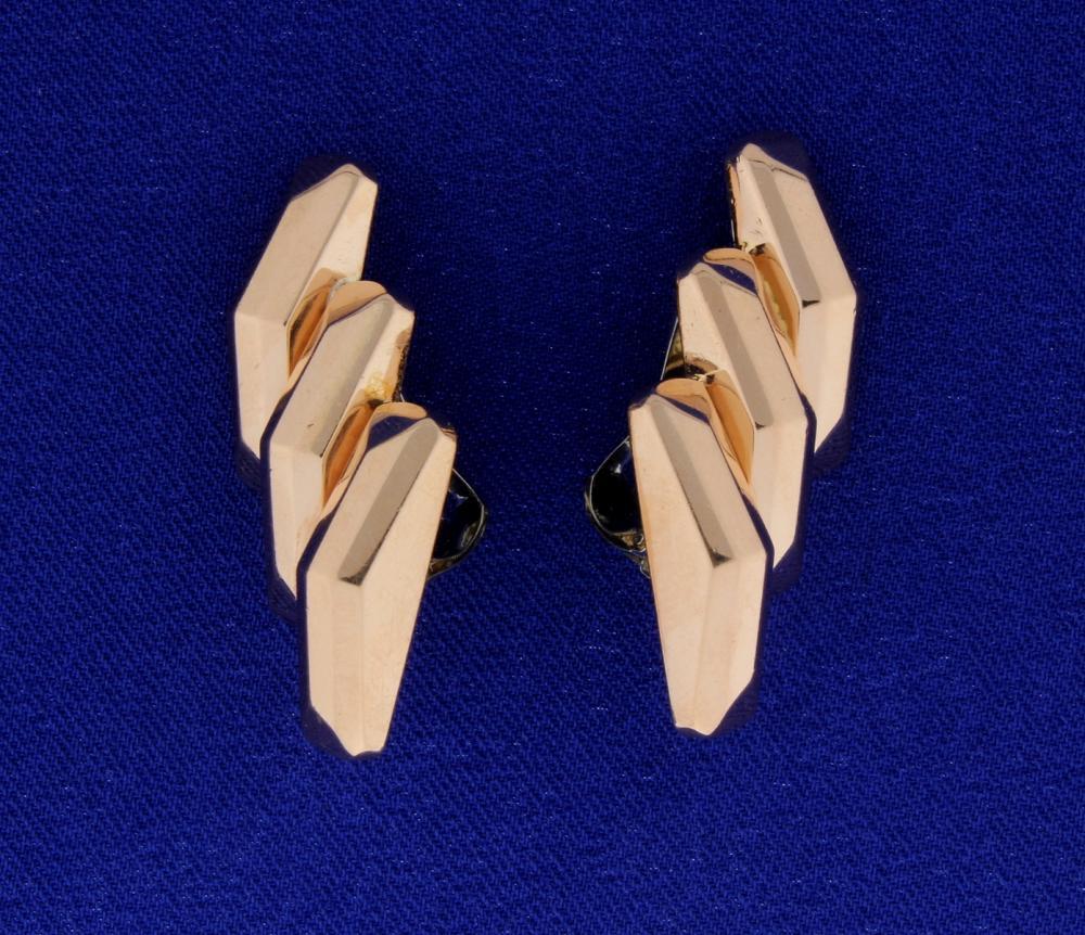 14k Rose Gold Large Clip On Earrings
