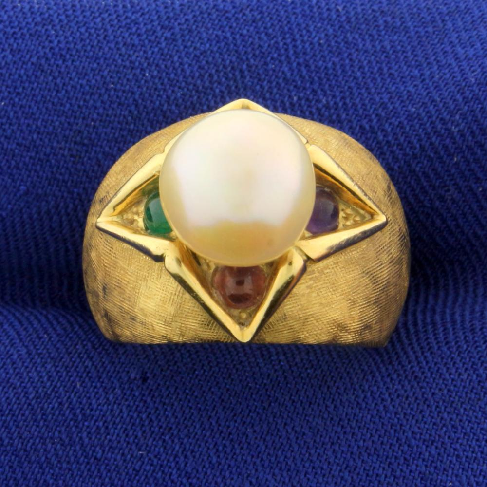 18k Gold Akoya Pearl Ring With Emerald, Ruby, Sapphire, and Amethyst Gemstones