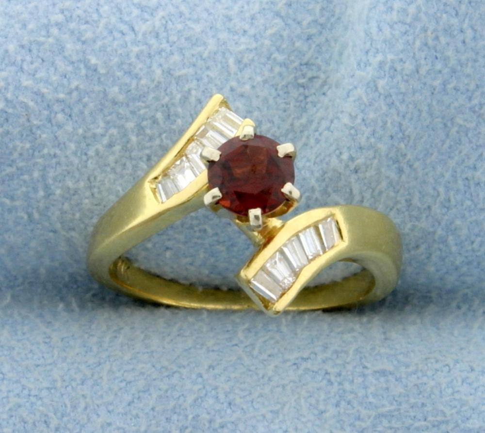 Garnet and 1/2ct TW Baguette Diamond Ring in 18k Yellow Gold