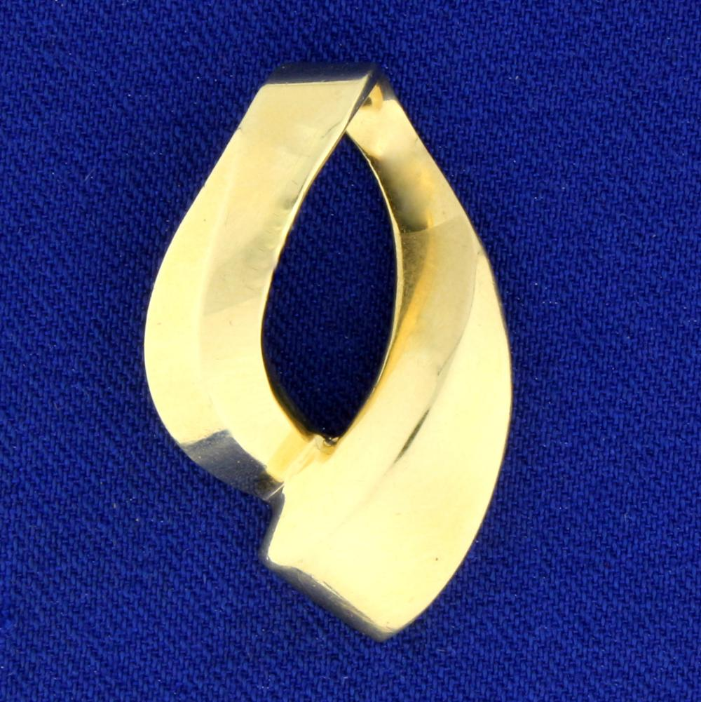 Slide or Pendant for Omega or Neck Chain in 14k Yellow Gold