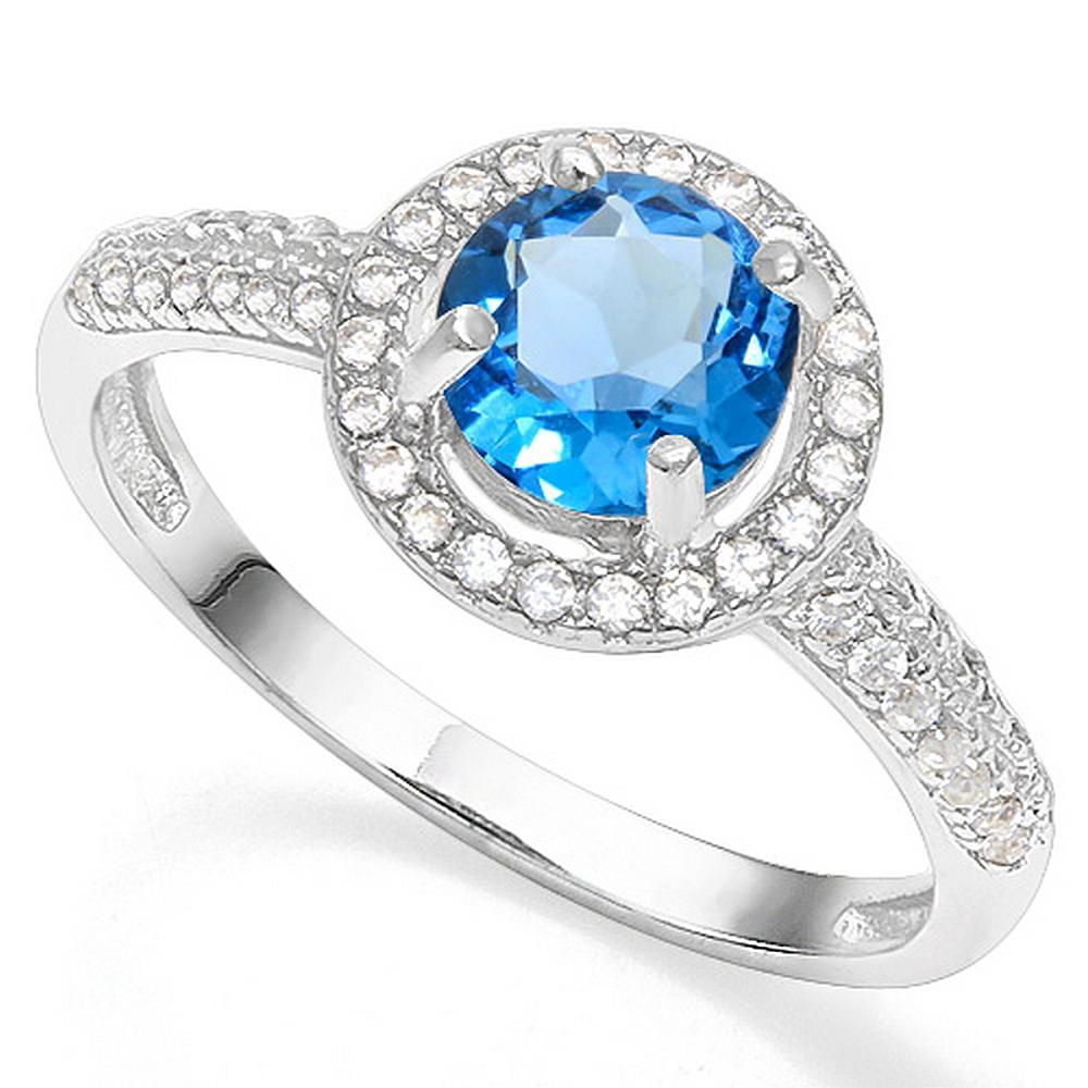 London Blue Topaz and Diamond Halo Style Ring in Sterling Silver