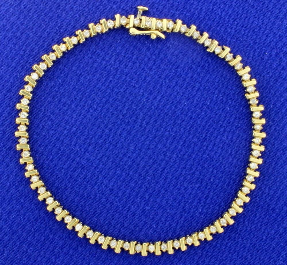 3/4ct TW Diamond Tennis Bracelet in 14k Yellow Gold
