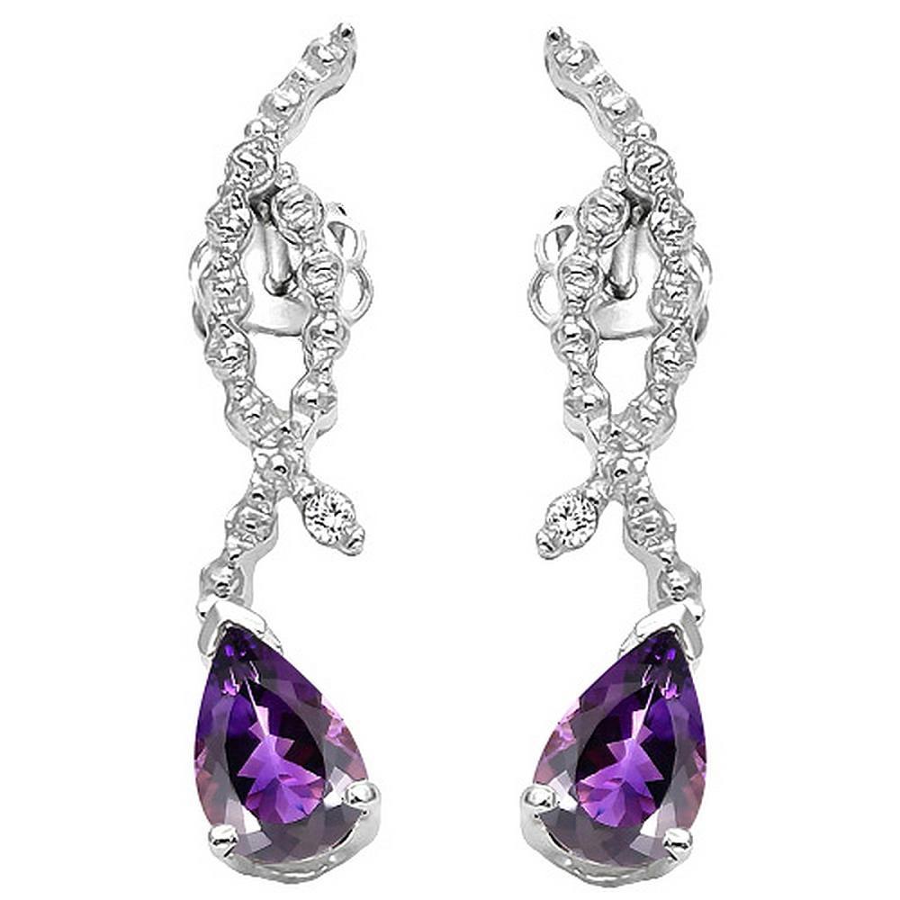 Amethyst and Diamond Dangle Earrings in Sterling Silver