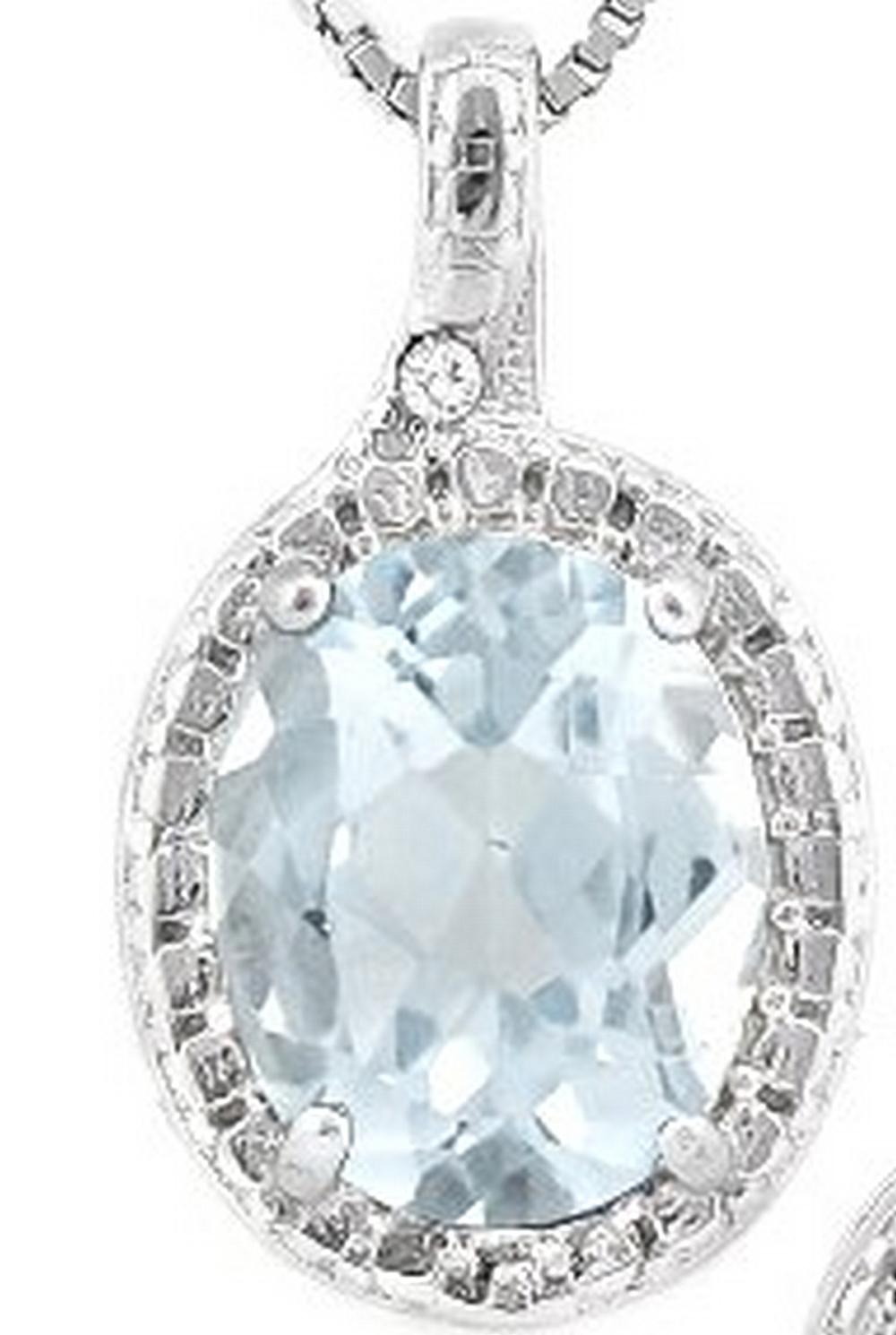 Aquamarine and Diamond Necklace  in Sterling Silver