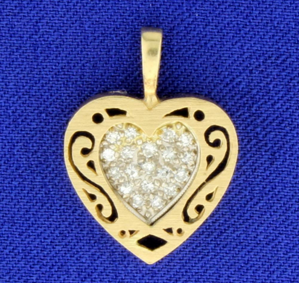 Vintage Diamond Heart Pendant in 14k Yellow and White Gold
