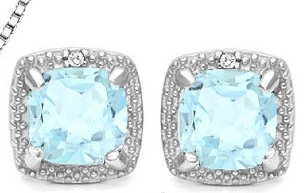 Sky Blue Topaz and Diamond Halo Style Earrings in Sterling Silver