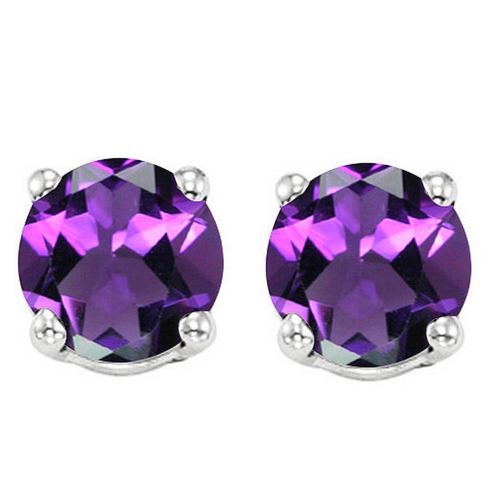 6MM Amethyst Stud Earrings in Sterling Silver