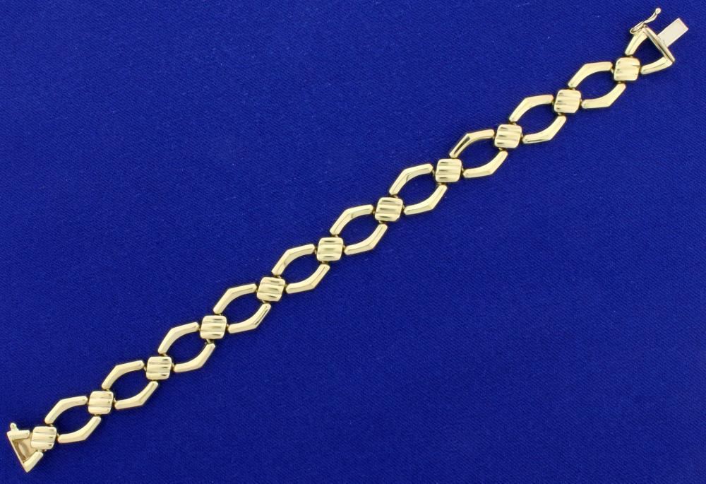 Italian Made 7 1/4 Inch Gold Bracelet in 14k Yellow Gold