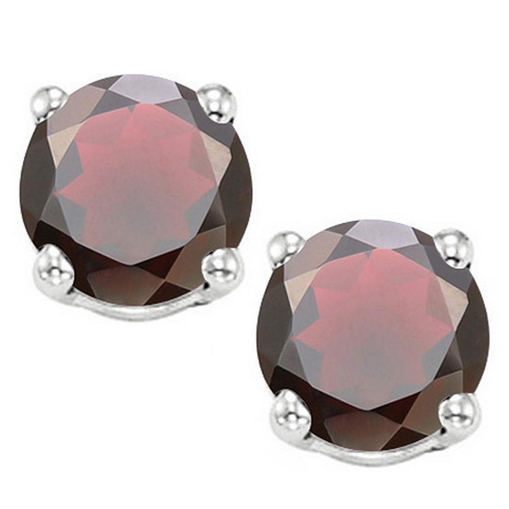 8MM Large Natural Garnet Stud Earrings in Sterling Silver