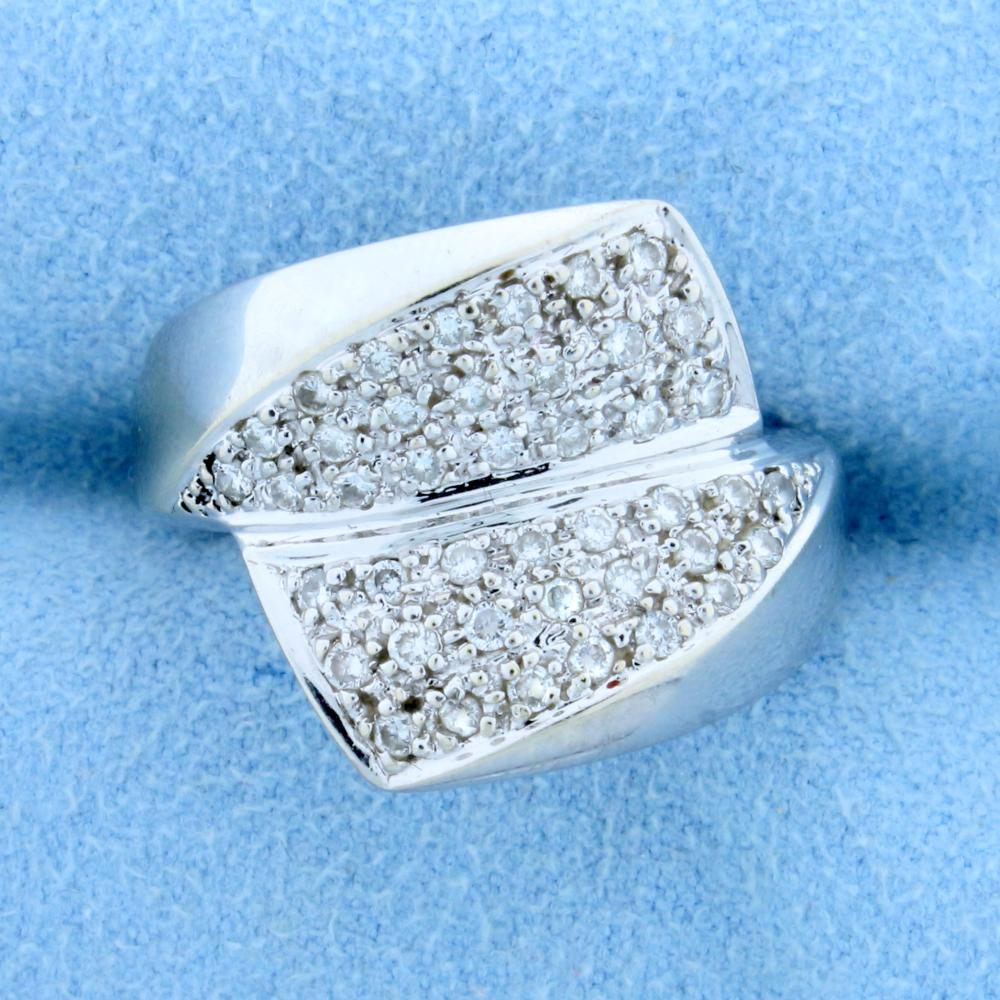 1/2 ct TW Diamond Bypass Ring in 14k White Gold