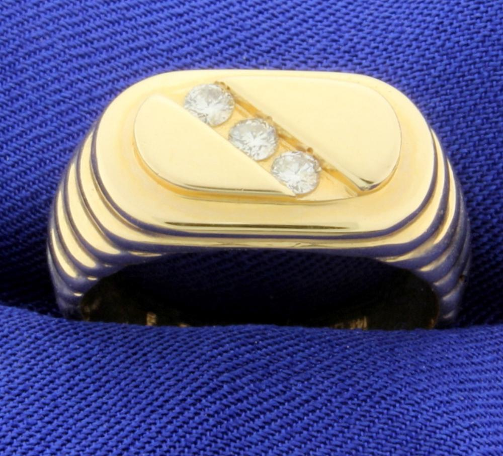 1/4ct TW 3 Stone Men's Diamond Ring in 14k Yellow Gold
