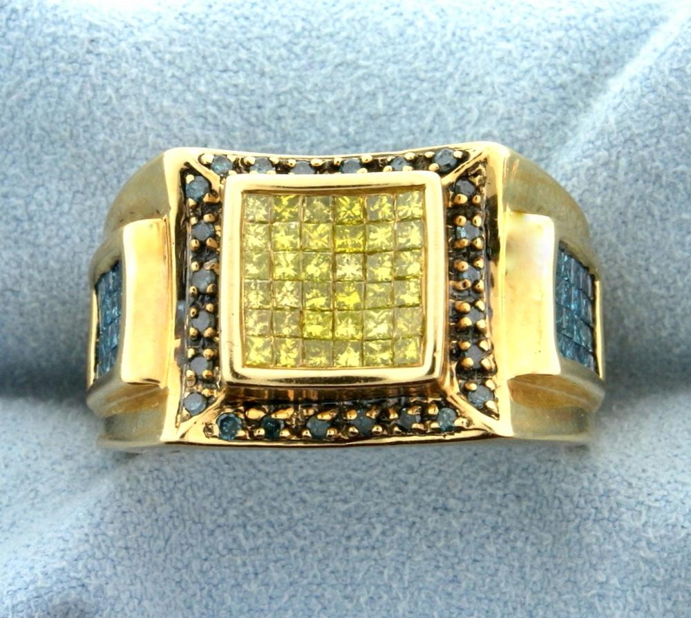 1.75ct Total Weight Fancy Blue & Yellow Diamond Ring in 14k Gold