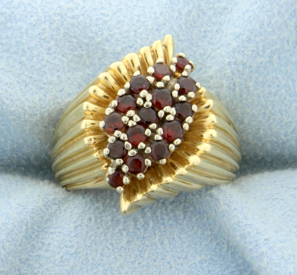 1/2ct Total Weight Garnet Ring in 14k Yellow Gold