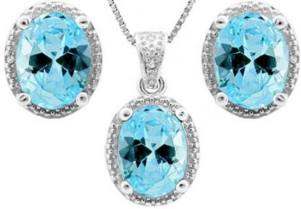 Sky Blue Topaz 7CTW Halo Style Earrings and Pendant SET in Sterling Silver