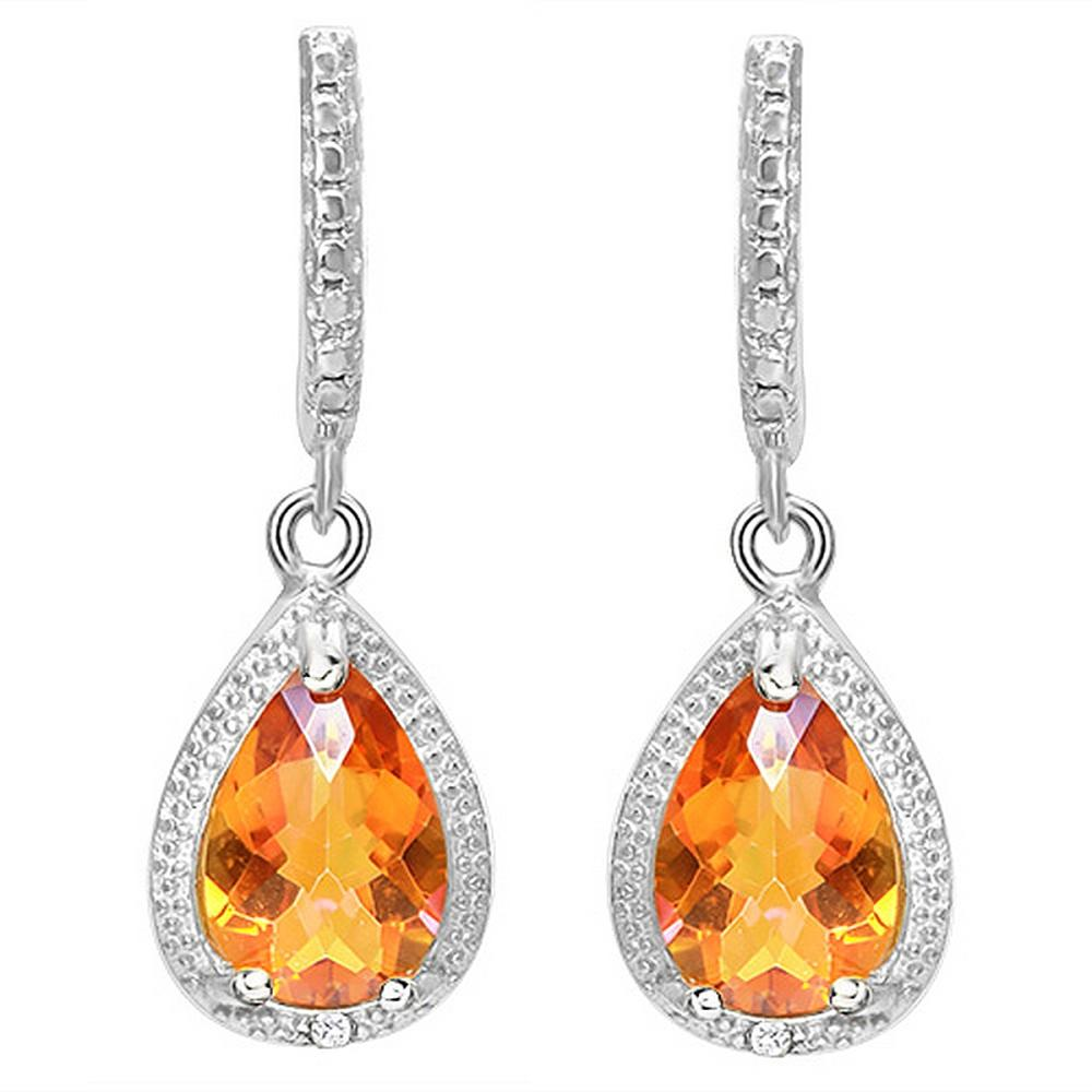 Large Checkerboard Cut Azotic Topaz and Diamond Halo Style Dangle Earrings in Sterling Silver