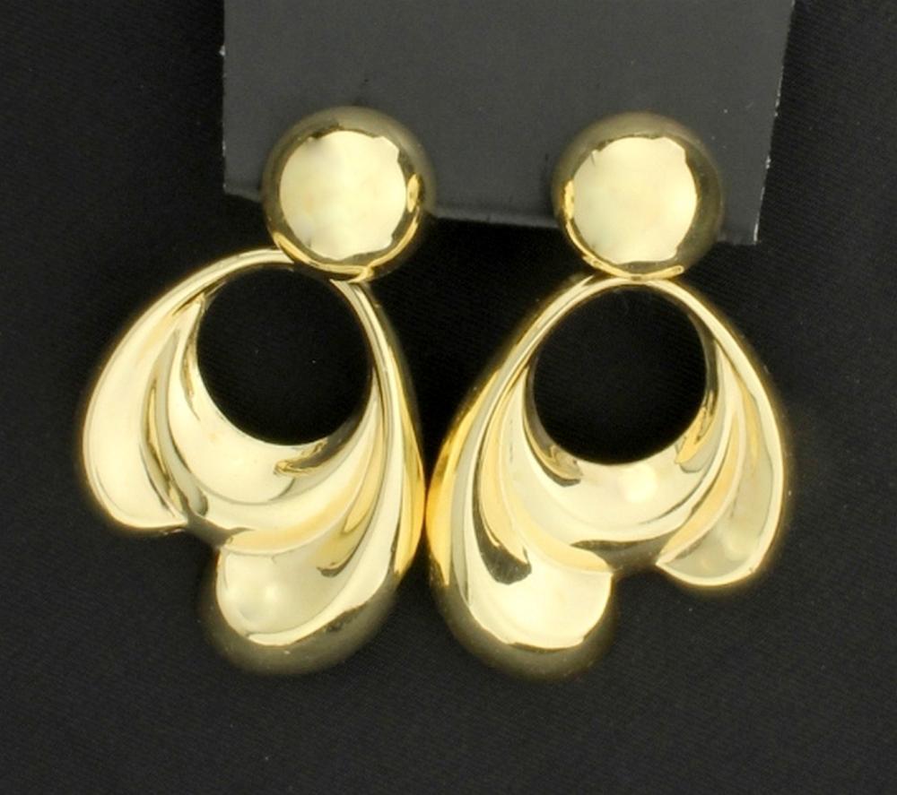 14K Large Dangle Doorknocker Style Earrings in 14k Yellow Gold