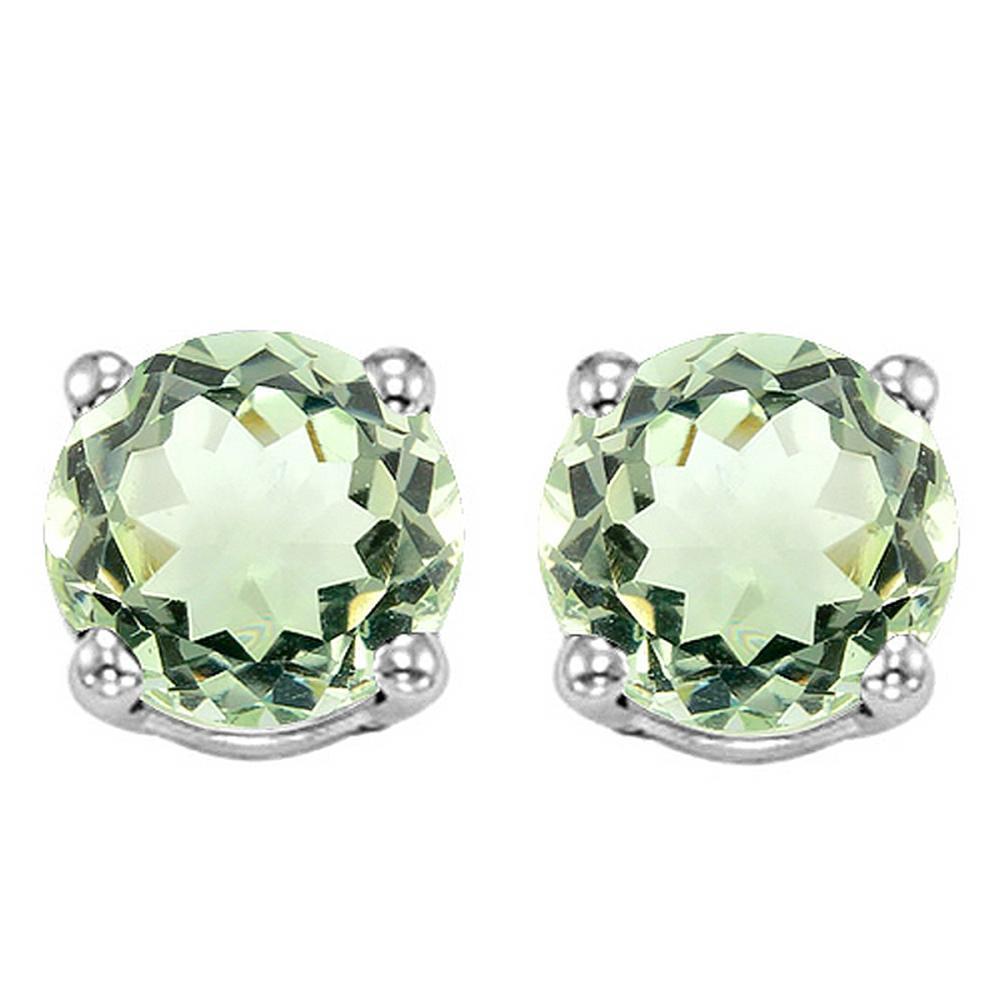 6MM Green Amethyst Stud Earrings in Sterling Silver