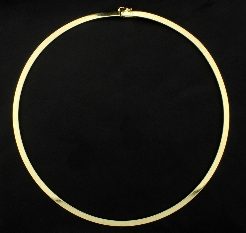 Italian Made 17 Inch Omega Necklace in 14k Yellow Gold