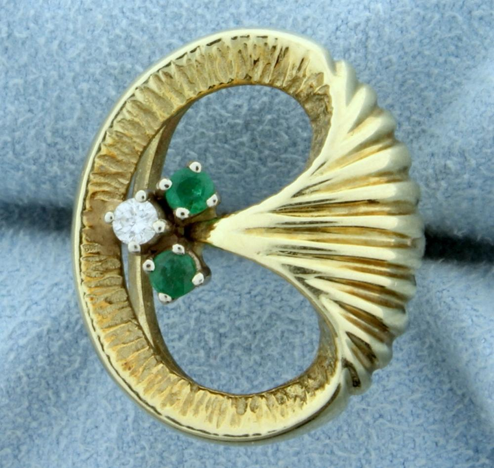 Natural Emerald and Diamond Ring in 14K Yellow Gold