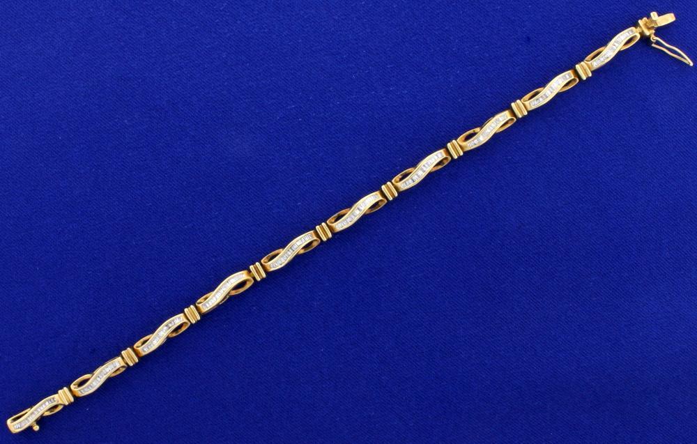 3ct TW Diamond Bracelet in 10k Yellow Gold