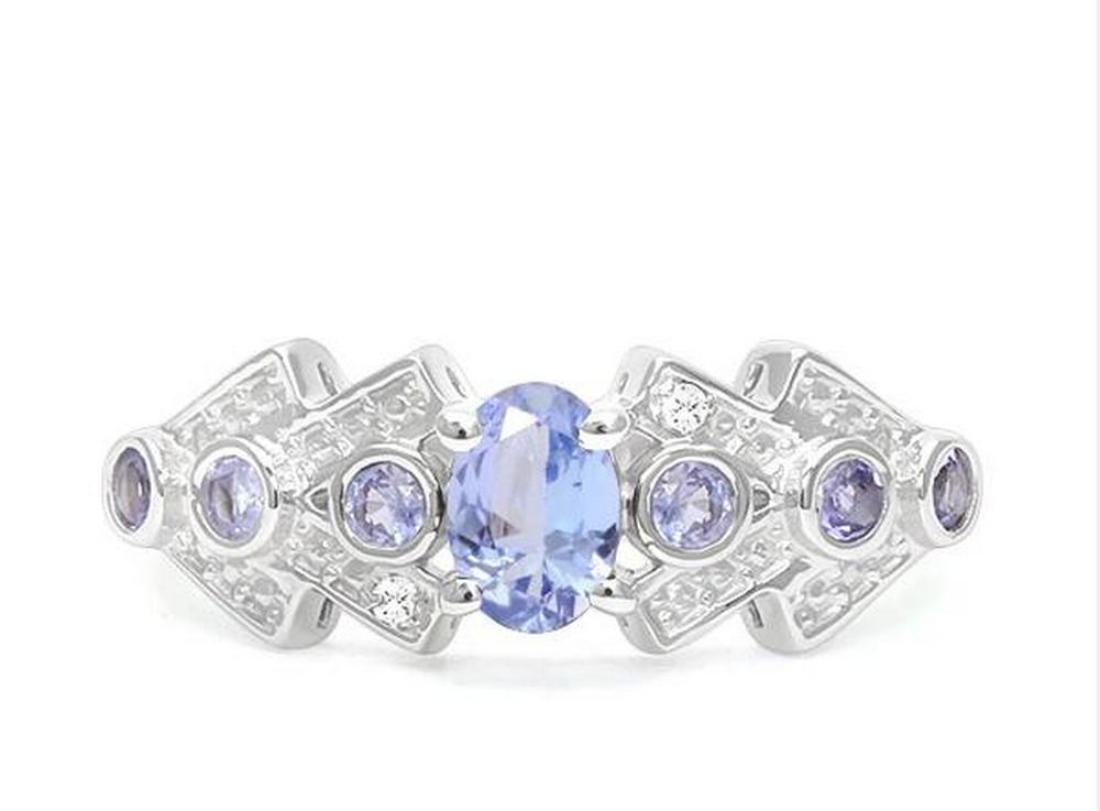Tanzanite & Diamond Ring in Sterling Silver