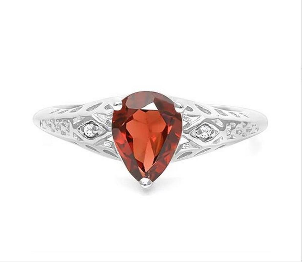 1.2CT Pear Cut Garnet Ring in Sterling Silver