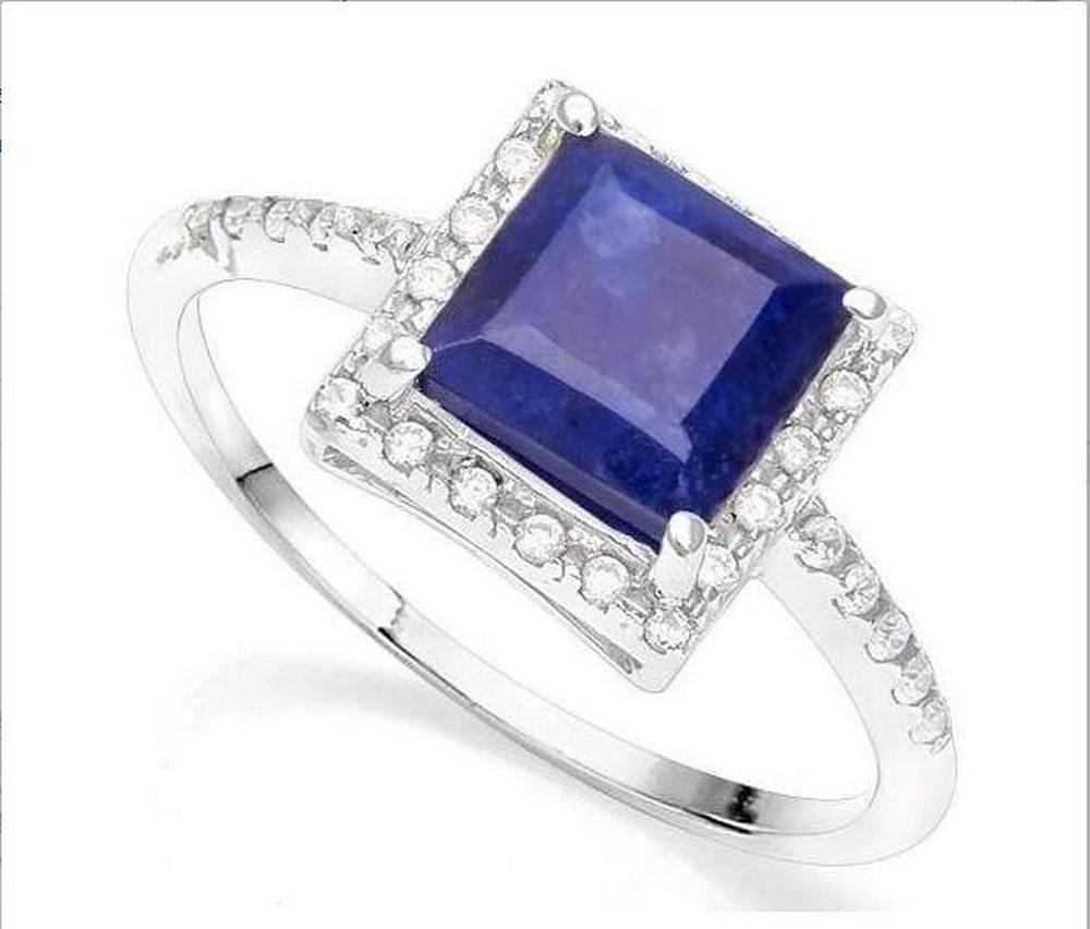 2.3CT Sapphire Halo Ring in Sterling Silver