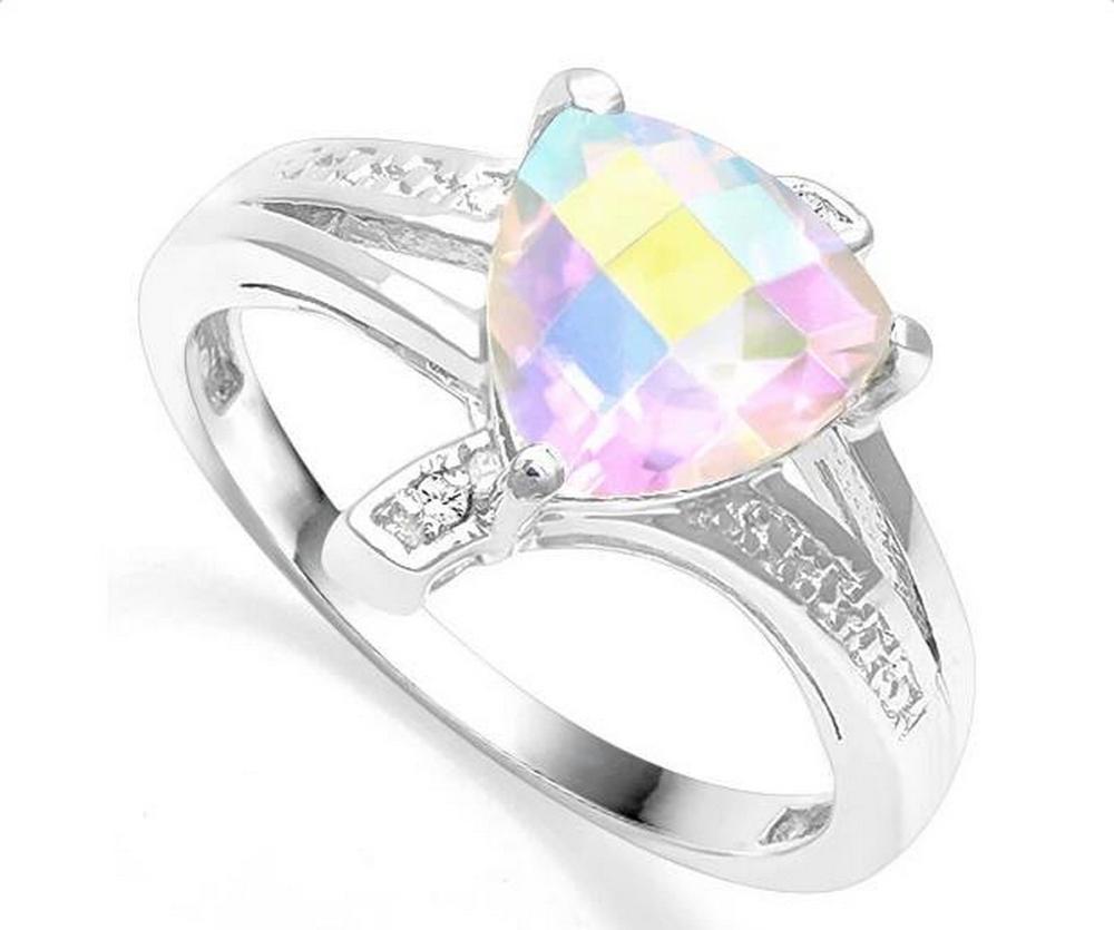1.5CT Mercury Mystic Topaz & Diamond Ring in Sterling Silver