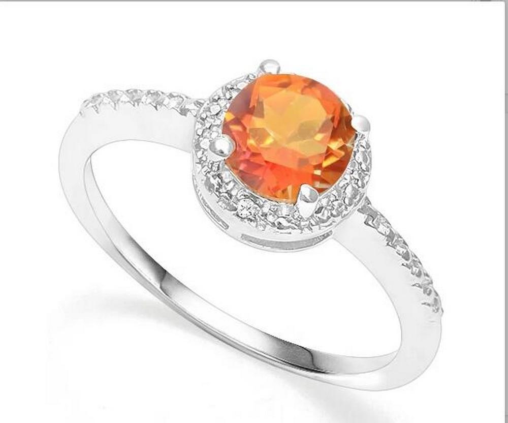 Azotic Topaz & Diamond Halo Ring in Sterling Silver